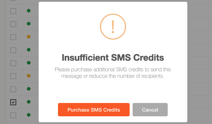 2016 11 sms insufficent credits